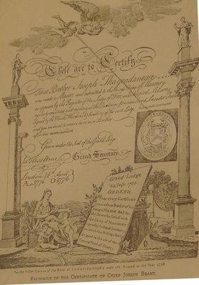 A facsimile of the Certificate of Chief Joseph Brant