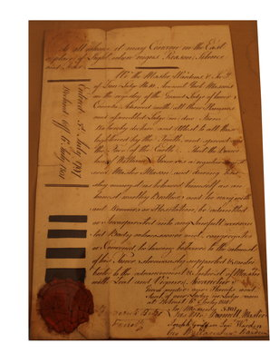 Declaration from Zion Lodge, No. 10, Lower Canada, dated 1801.