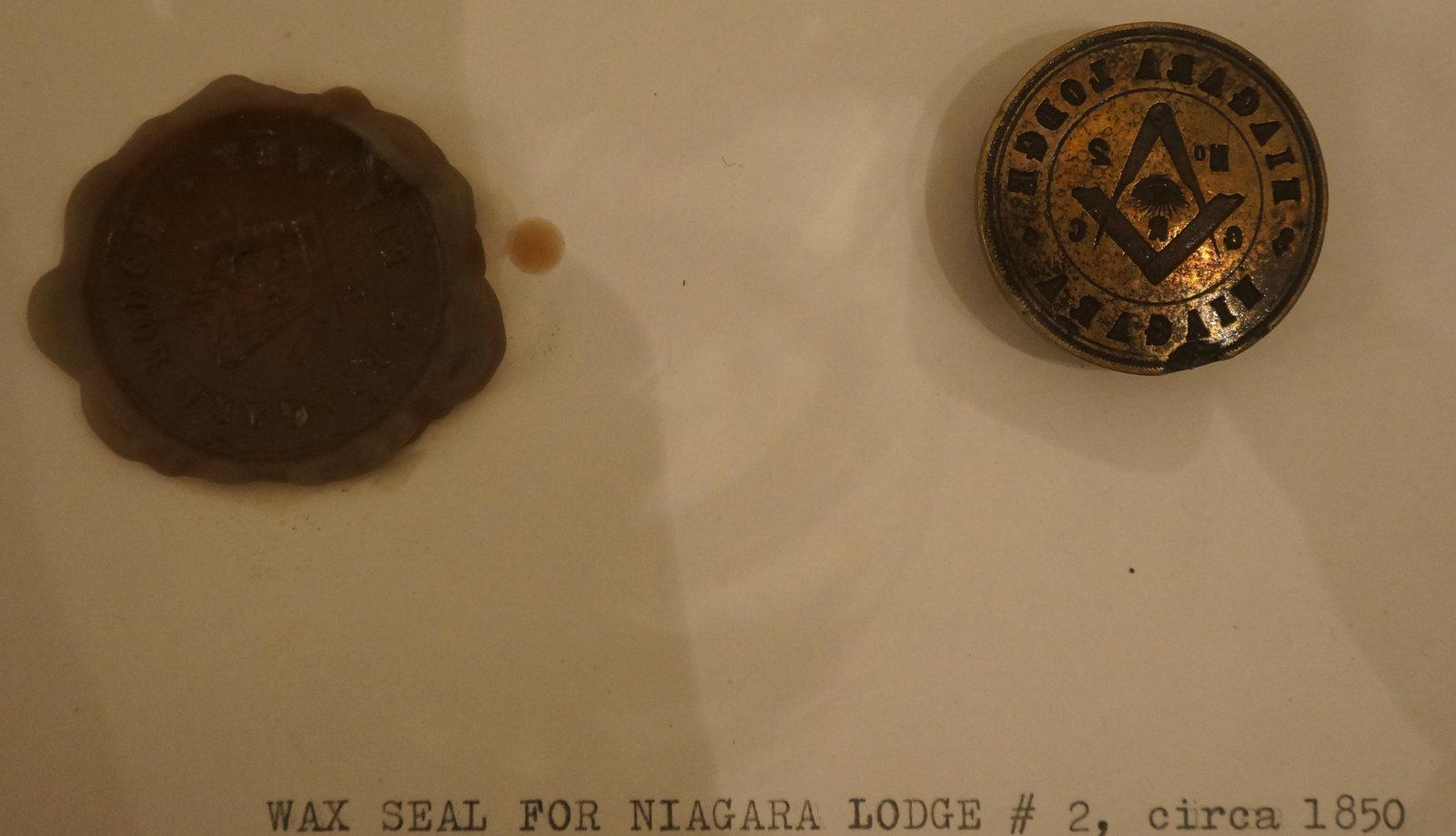 Wax seal for Niagara Lodge No. 2, circa 1850