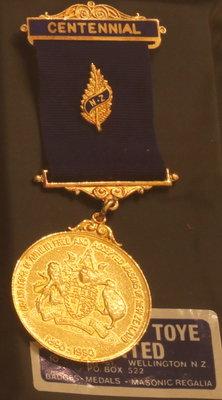 Grand Lodge of New Zealand Centennial Medal, 1890-1990