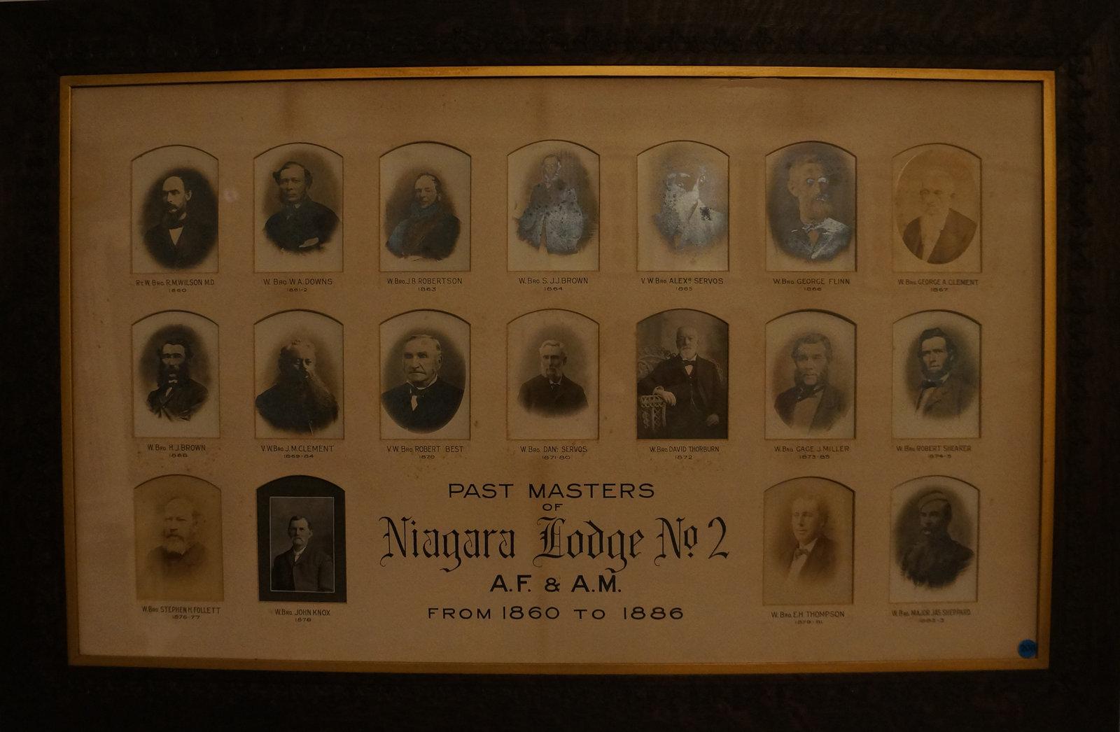 Past Masters of Niagara Lodge, No. 2, 1860-1886