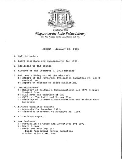 1993 Library Board Minutes