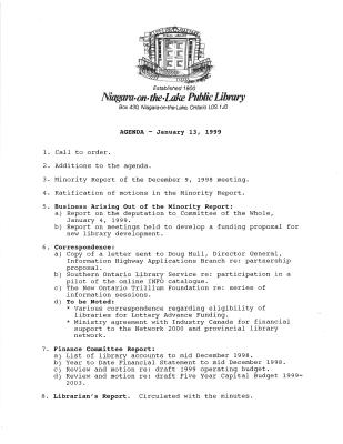 1999 Library Board Minutes