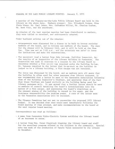 1975 Library Board Minutes