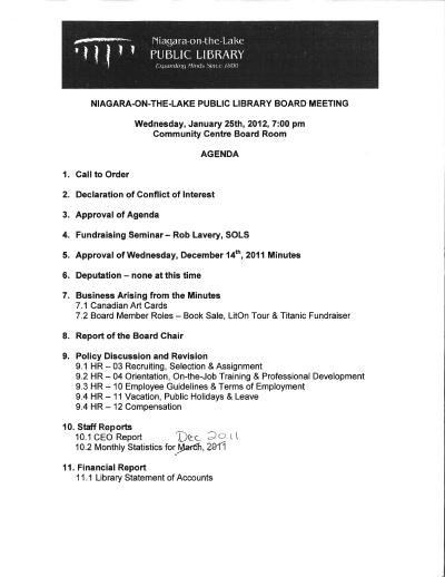 2012 Library Board Minutes