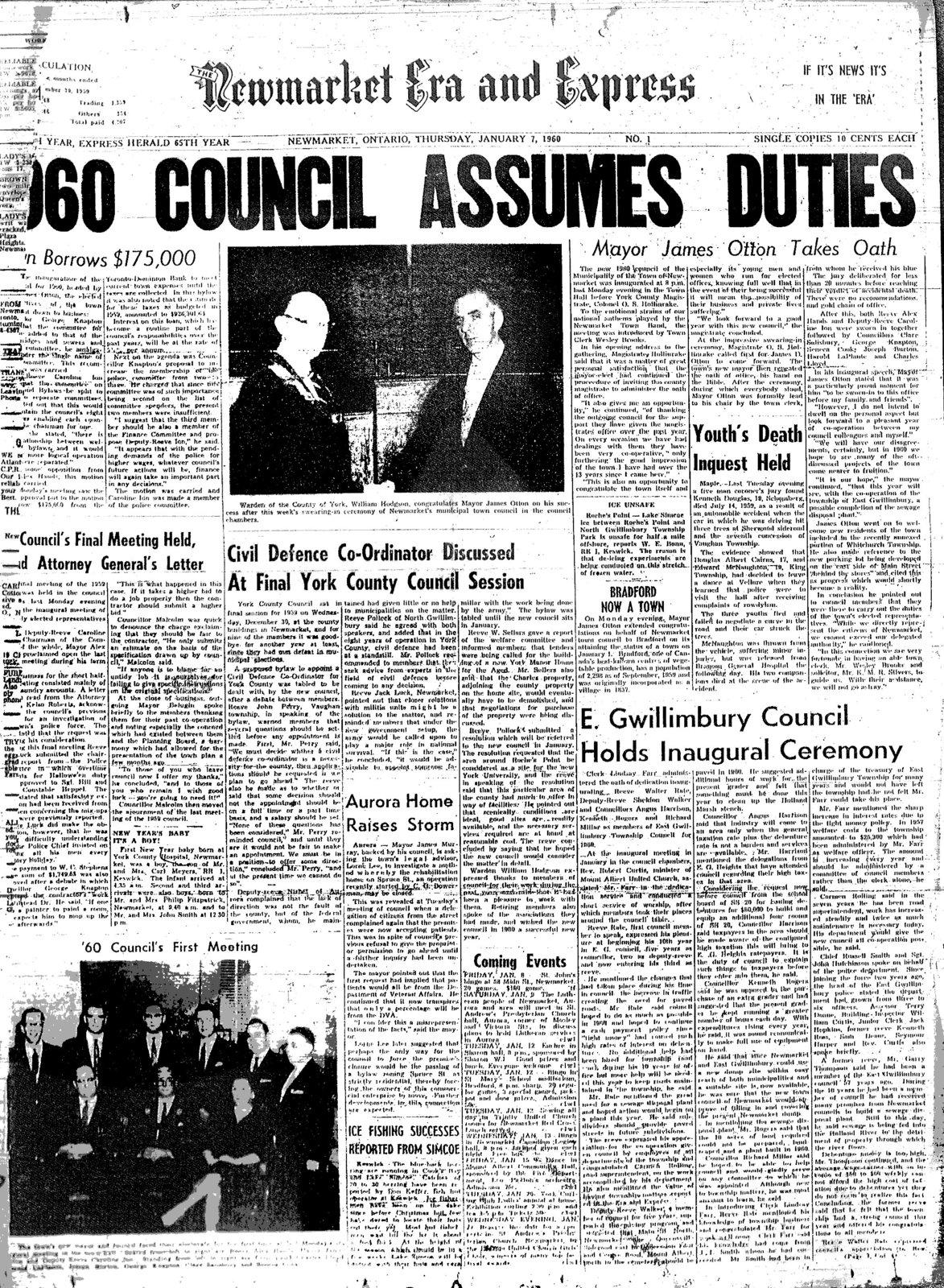 1960 Council Assumes Duties
