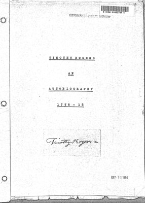 Timothy Rogers: An Autobiography, 1756-1866
