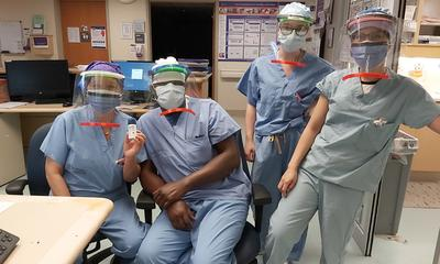 Face shields and hospital staff
