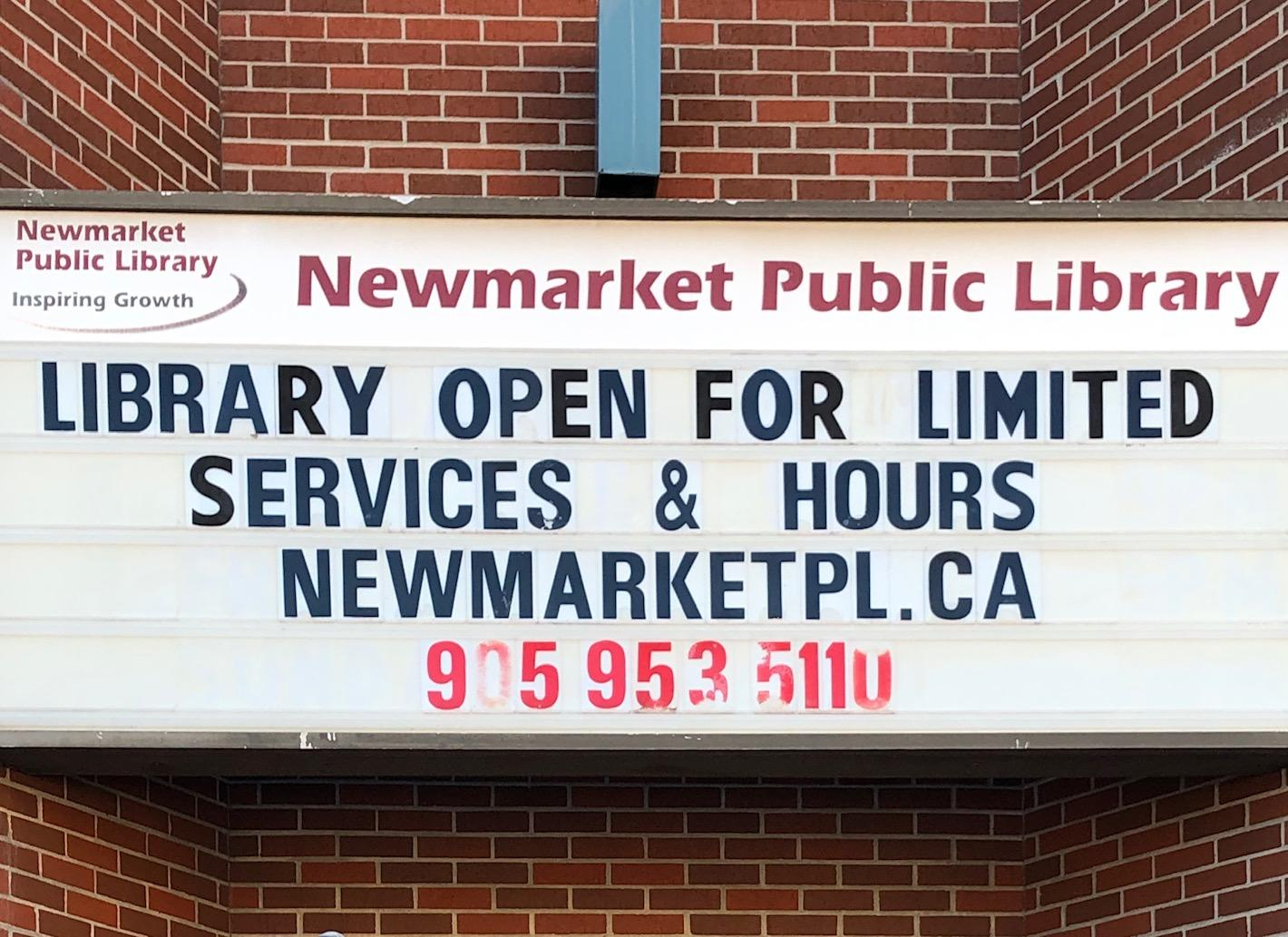 Newmarket Public Library open for limited services and hours