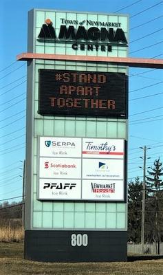 Magna Centre sign: Stand apart together