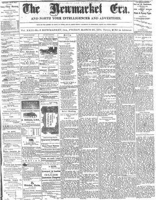 Newmarket Era (Newmarket, ON1861), March 20, 1874