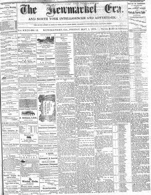 Newmarket Era (Newmarket, ON1861), May 1, 1874