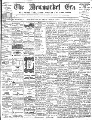 Newmarket Era (Newmarket, ON1861), April 2, 1875
