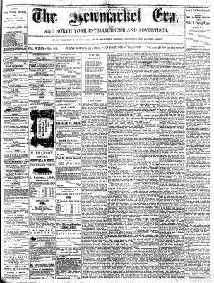 Newmarket Era (Newmarket, ON1861), November 26, 1875