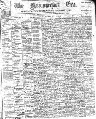 Newmarket Era (Newmarket, ON1861), November 15, 1878