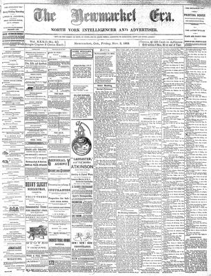 Newmarket Era (Newmarket, ON1861), November 2, 1883