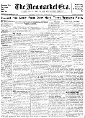 Newmarket Era (Newmarket, ON1861), October 9, 1931