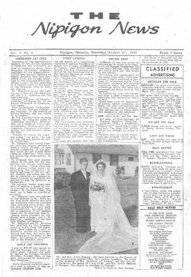 The Nipigon News, 20 Oct 1949