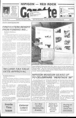 Nipigon Red-Rock Gazette, 2 Feb 1988