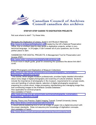 Canadian Council of Archives: Step-by-step guides to digitization projects