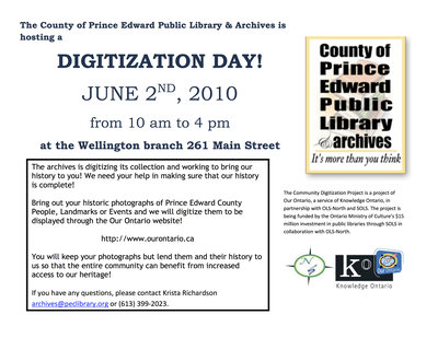 Digitization Day, The County of Prince Edward Public Library & Archives