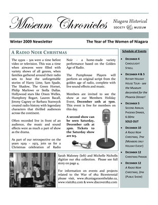 Museum Chronicles, Niagara Historical Society & Museum , Winter 2009 Newsletter