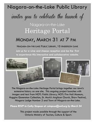Niagara-on-the-Lake Public Library, Heritage Portal Launch, flyer