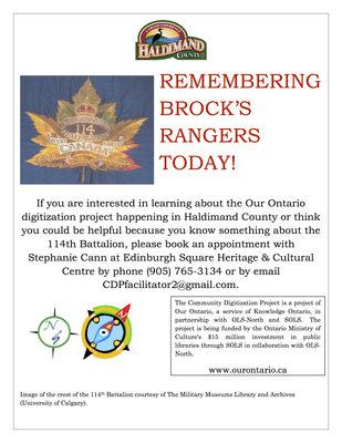 Remembering Brock's Rangers Today! Haldimand County Digitization Project flyer