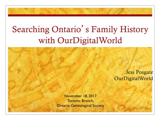 Searching your family history with OurDigitalWorld