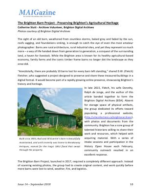 The Brighton Barn Project - Preserving Brighton's Agricultural Heritage