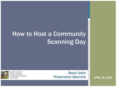 How to host a Community Scanning day