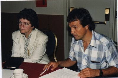 Terry Smith and Liz Hoffman in OLA meeting