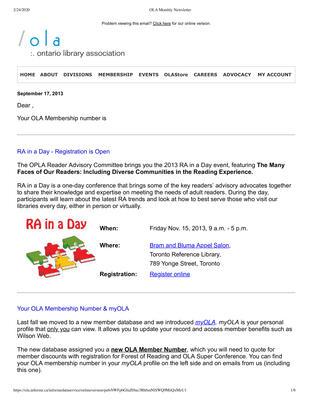 OLA eNewsletter (Toronto, ON: Ontario Library Association), 17 Sep 2013