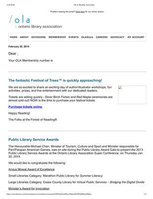 OLA eNewsletter (Toronto, ON: Ontario Library Association), 20 Feb 2014