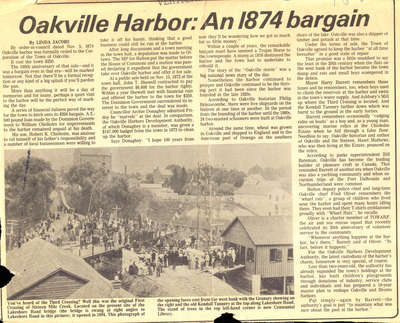 Oakville Harbour: An 1874 bargain