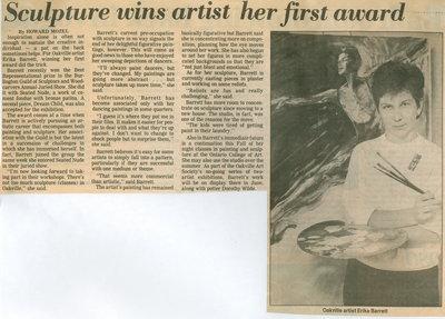 Sculpture wins artist her first award
