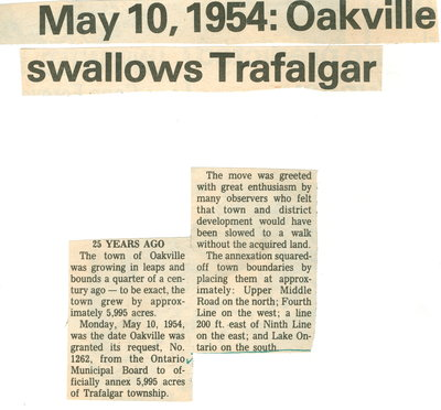 May 10, 1954: Oakville swallows Trafalgar