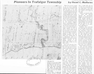 Pioneers in Trafalgar Township
