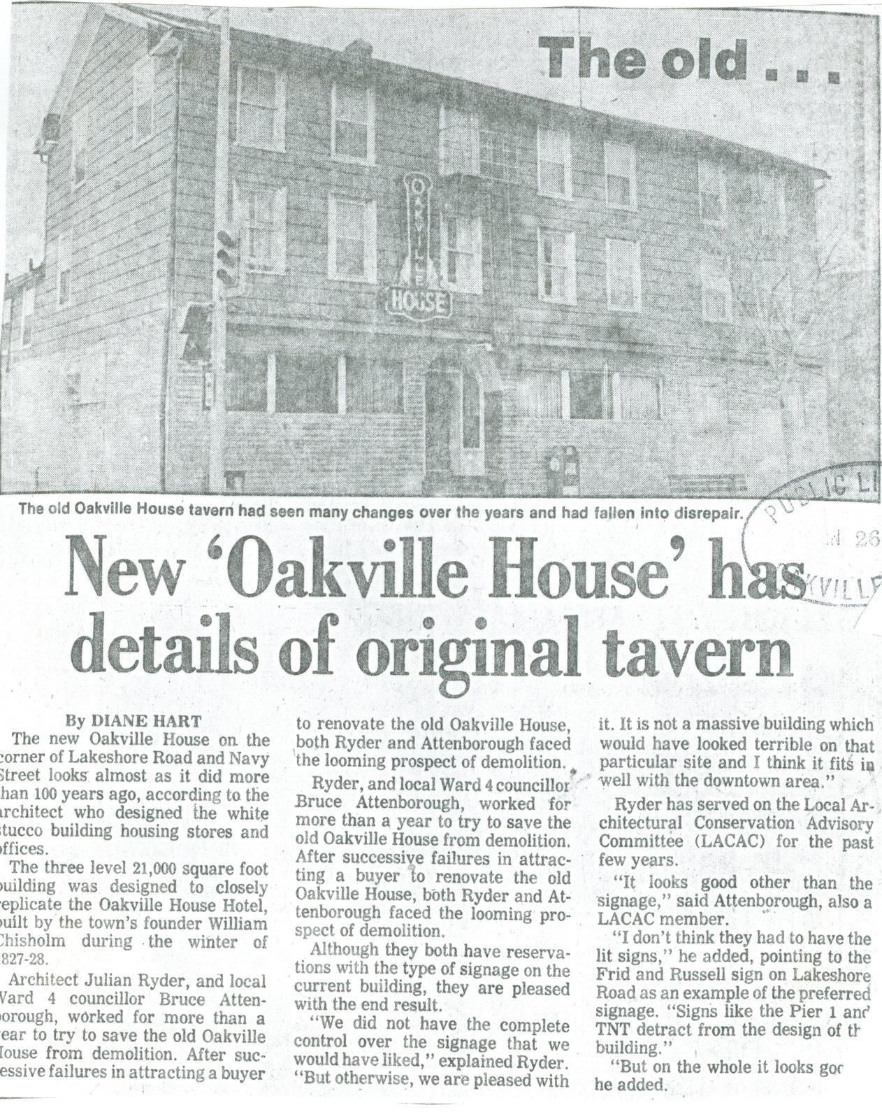 New 'Oakville House' has details of original tavern