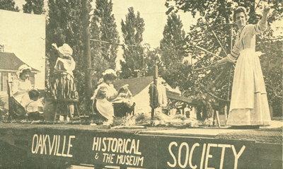 "<font color=""white"" face=""verdana"">Oakville Historical Society and Museum Centennial parade float"