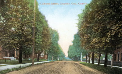 "<font color=""white"" face=""verdana"">Colborne Street (now Lakeshore Road) in the early 1900s"