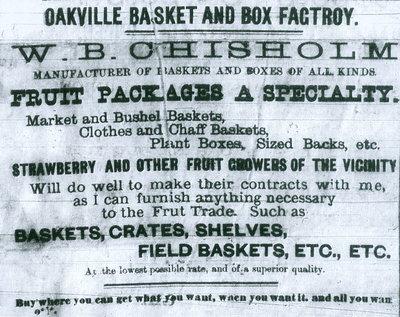 Oakville Basket and Box Factory advertisement