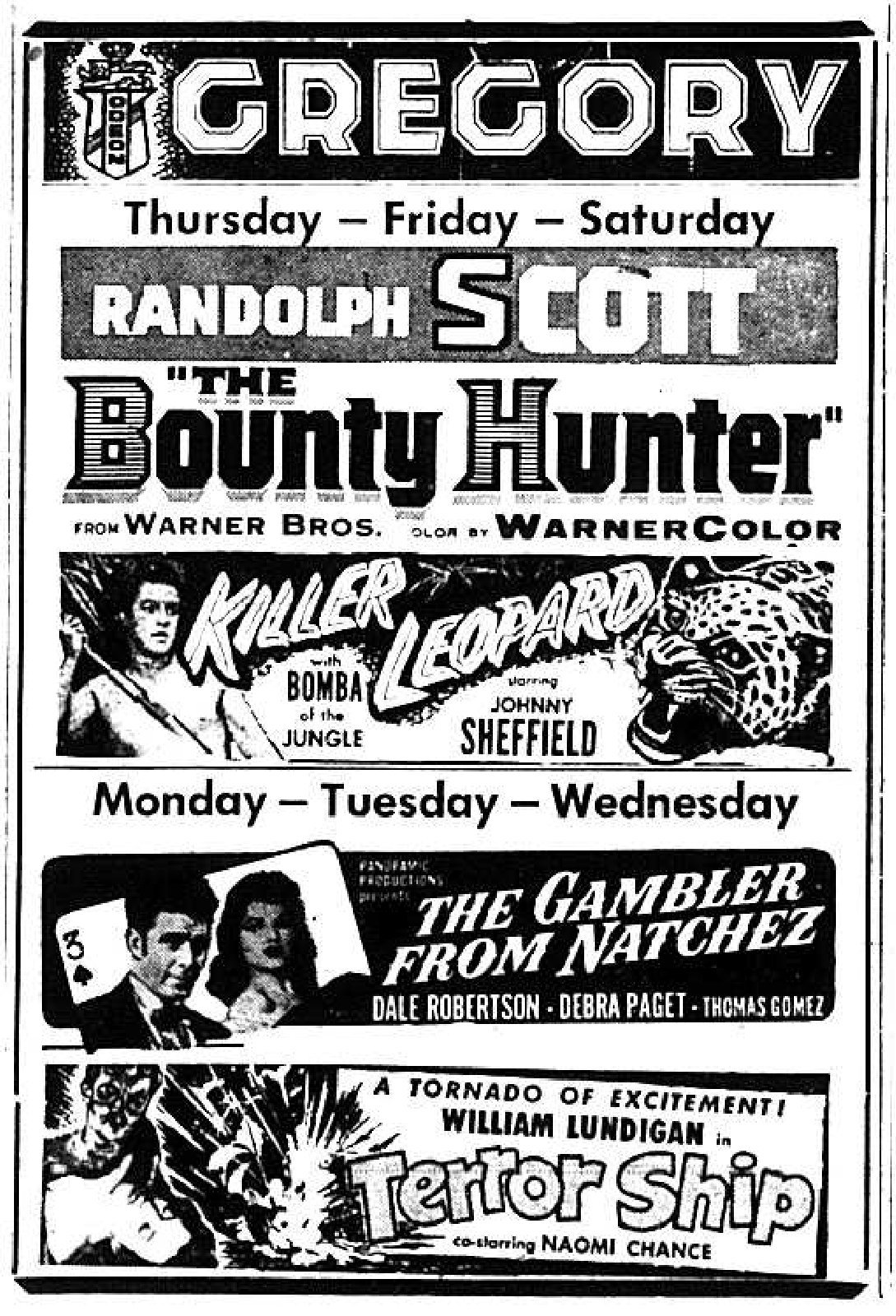 Gregory Theatre Movie Listings, 1955