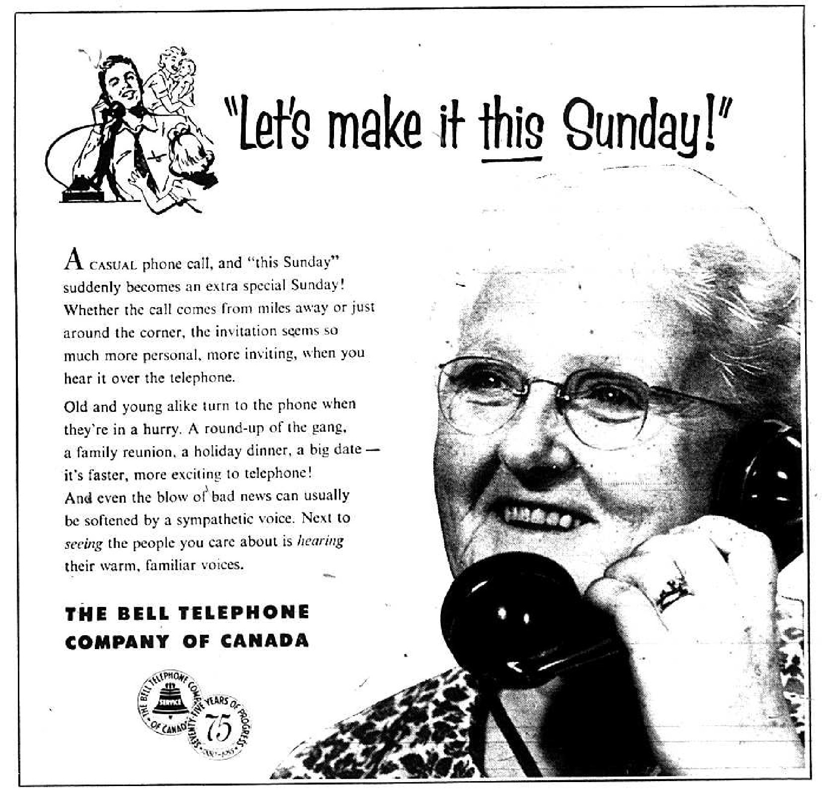 The Bell Telephone Company of Canada Advertisement, 1955