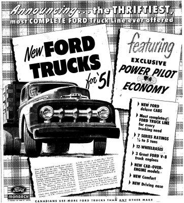 Ford Trucks for '51 advertisement