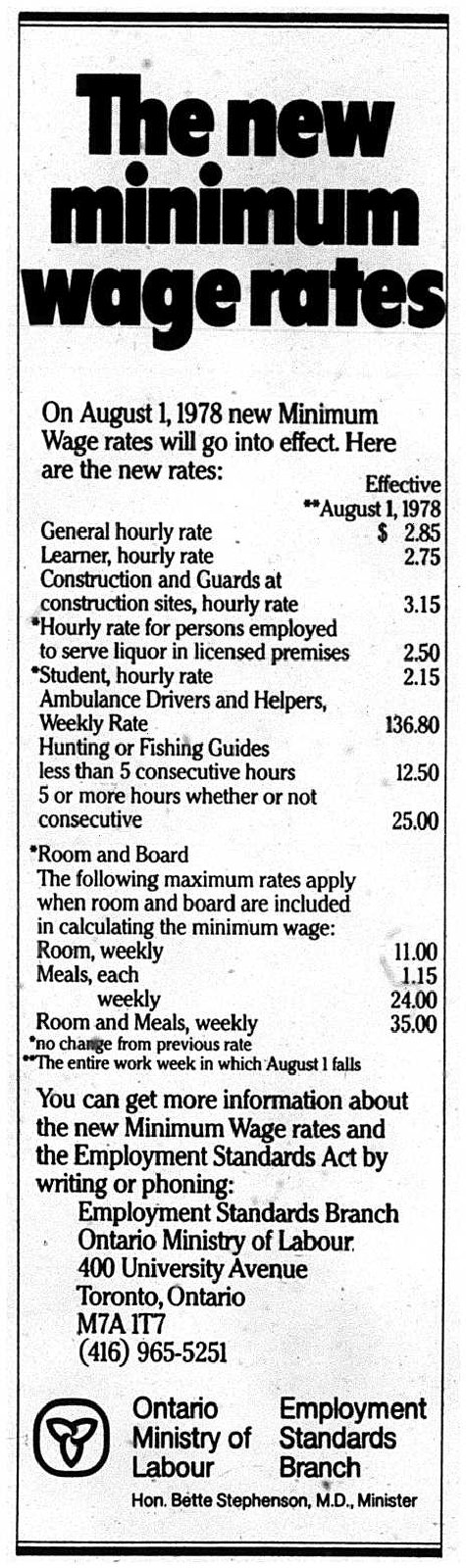 Minimum Wage Rates as of 1978