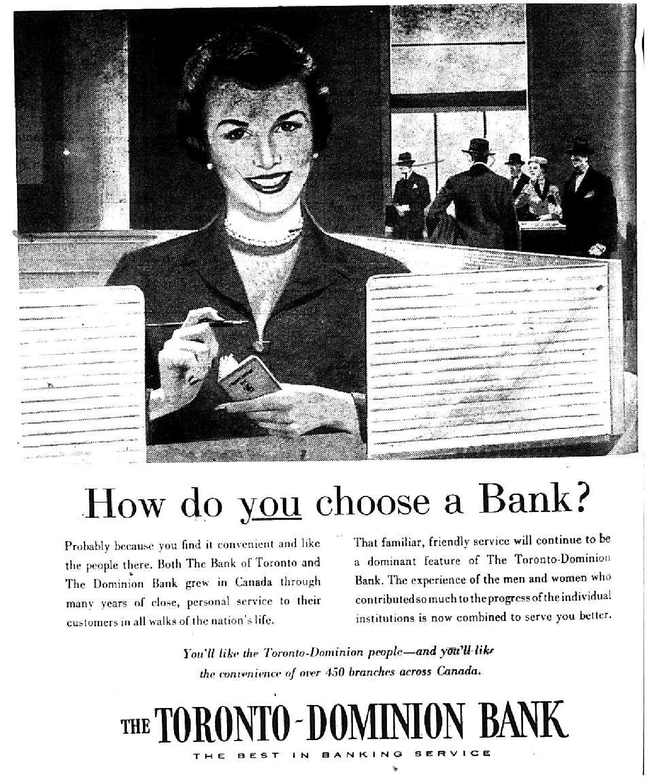 The Toronto-Dominion Bank Advertisement (1955)