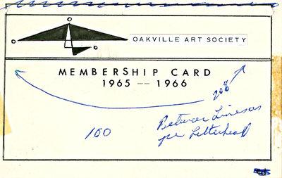 Oakville Art Society Membership Card 1965-1966