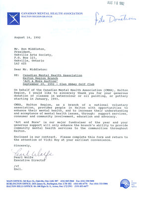 Letter from Canadian Mental Health to Oakville Art Society