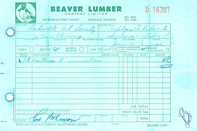 Receipt from 'Beaver Lumber' showing 'no charge'